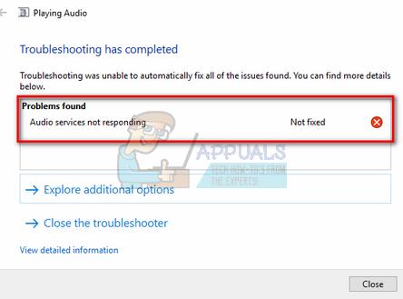 sửa lỗi Audio Services Not Responding
